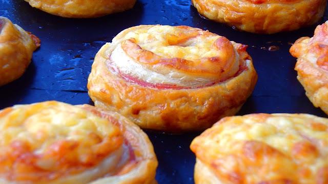 Espirales de jamón y queso
