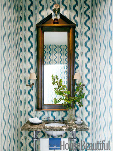 house beautiful traditional blue white powder room design