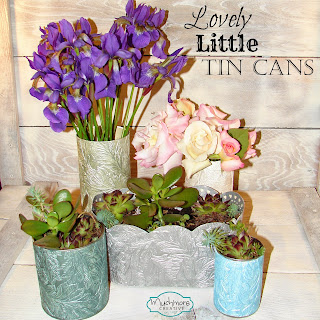 decorate tin cans using paintable wallpaper