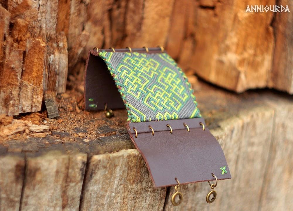 украшения, бижутерия, браслет, кожаный браслет, коричневый, зеленый, ирландия, кельтика
