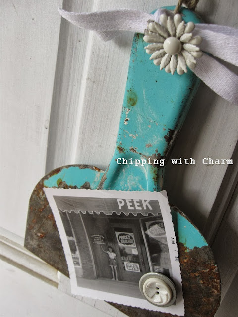 Aqua Blue Scraper turned Photo Holder by Chipping with Charm