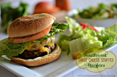 Stuffed Three Cheese Southwest Burger #Recipe #KraftFreshTake