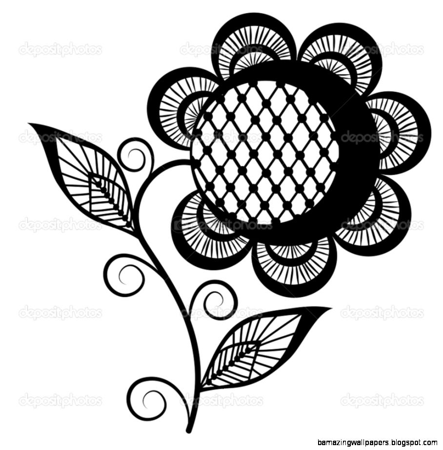 Abstract sunflower logo black and white Isolated on white