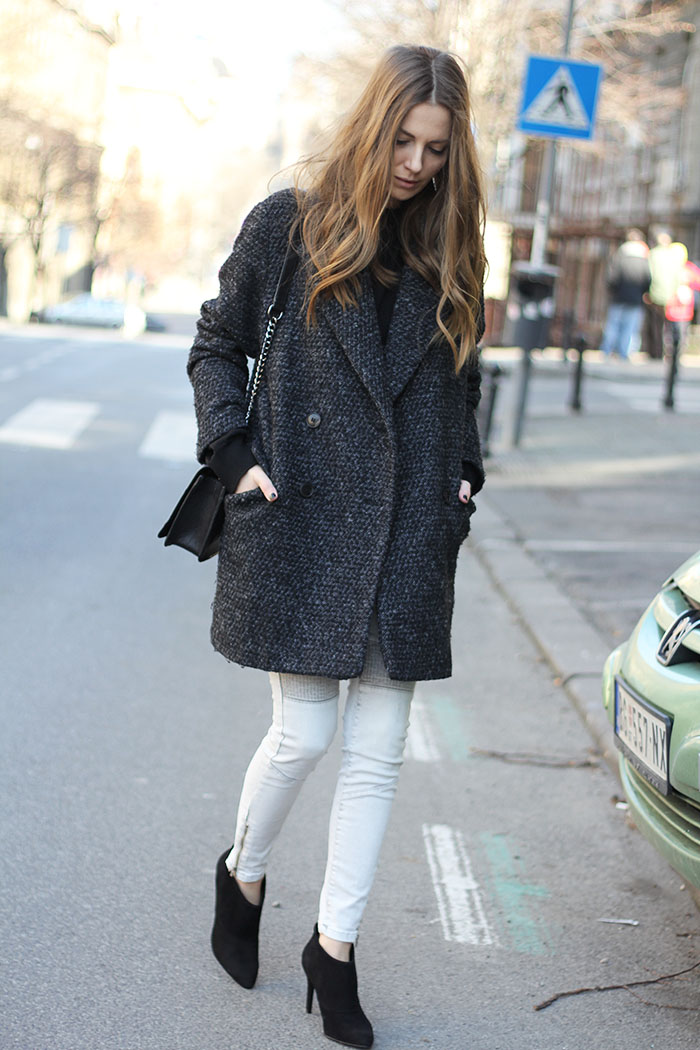 Oversized Coat and Biker Jeans