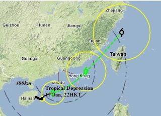 Tropisches Tief 6W (pot. Tropischer Sturm TALIM) bei Hong Kong zieht voraussichtlich nach Taiwan, Talim, Taifunsaison 2012, Taifunsaison, China, Hongkong, aktuell, Juni, 2012, Vorhersage Forecast Prognose, Verlauf, Zugbahn,