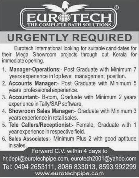 Eurotech International Kerala Jobs 2014
