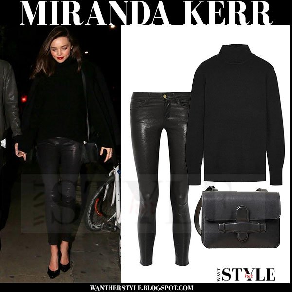 Miranda Kerr in black turtleneck equipment oscar sweater and leather frame denim pants what she wore