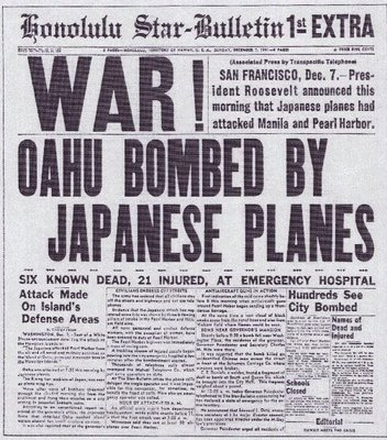 Flashback Summer: Pearl Harbor Day- old WWII 1940s newspaper