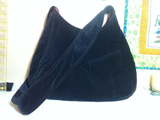 Black velvet handbag purse