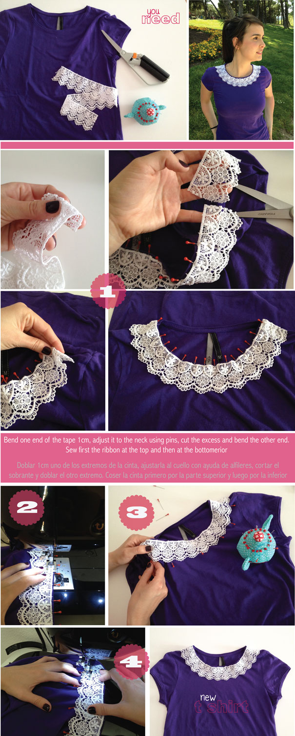 Diy fashion diy lace collar t shirt solutioingenieria Images