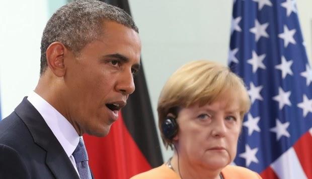 Presiden Barack Obama (kiri) dan Kanselir Jerman Angela Merkel. (AP Photo/dpa, Michael Kappeler)