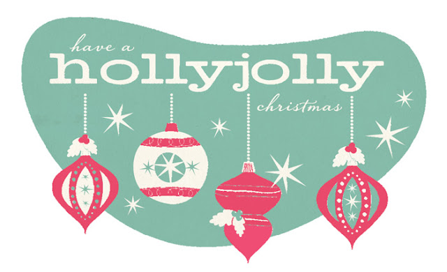 holly, jolly, holly-jolly, christmas, illustration, holiday, ornaments, typography, design, blue, red, blue and red, maria filar