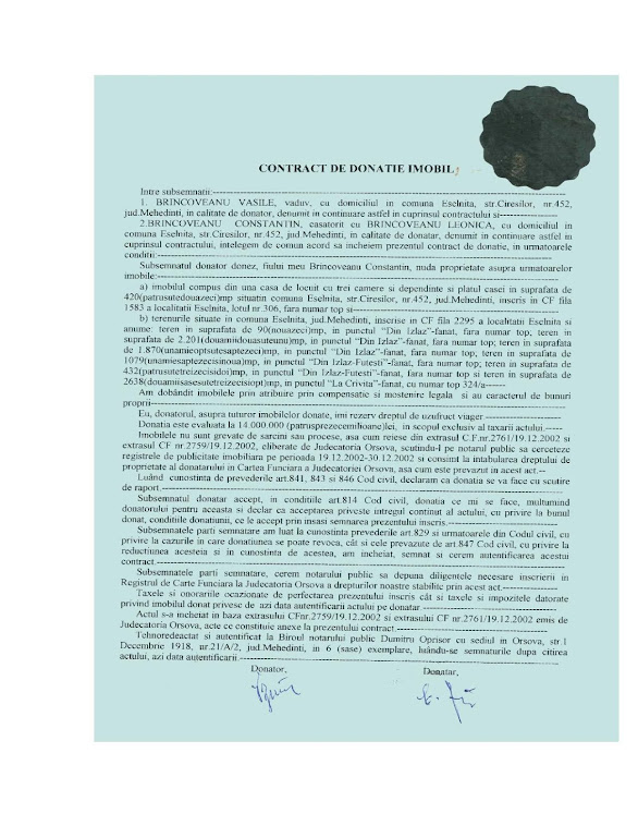 Terenul din CF 2295 - CONTRACT DE DONATIE