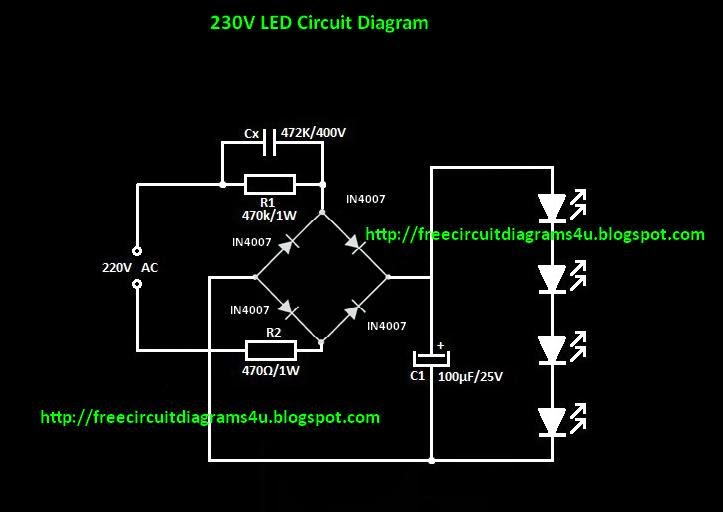 free circuit diagrams 4u 220v led light circuit diagram rh freecircuitdiagrams4u blogspot com LED Driver Circuit 110V LED Circuit