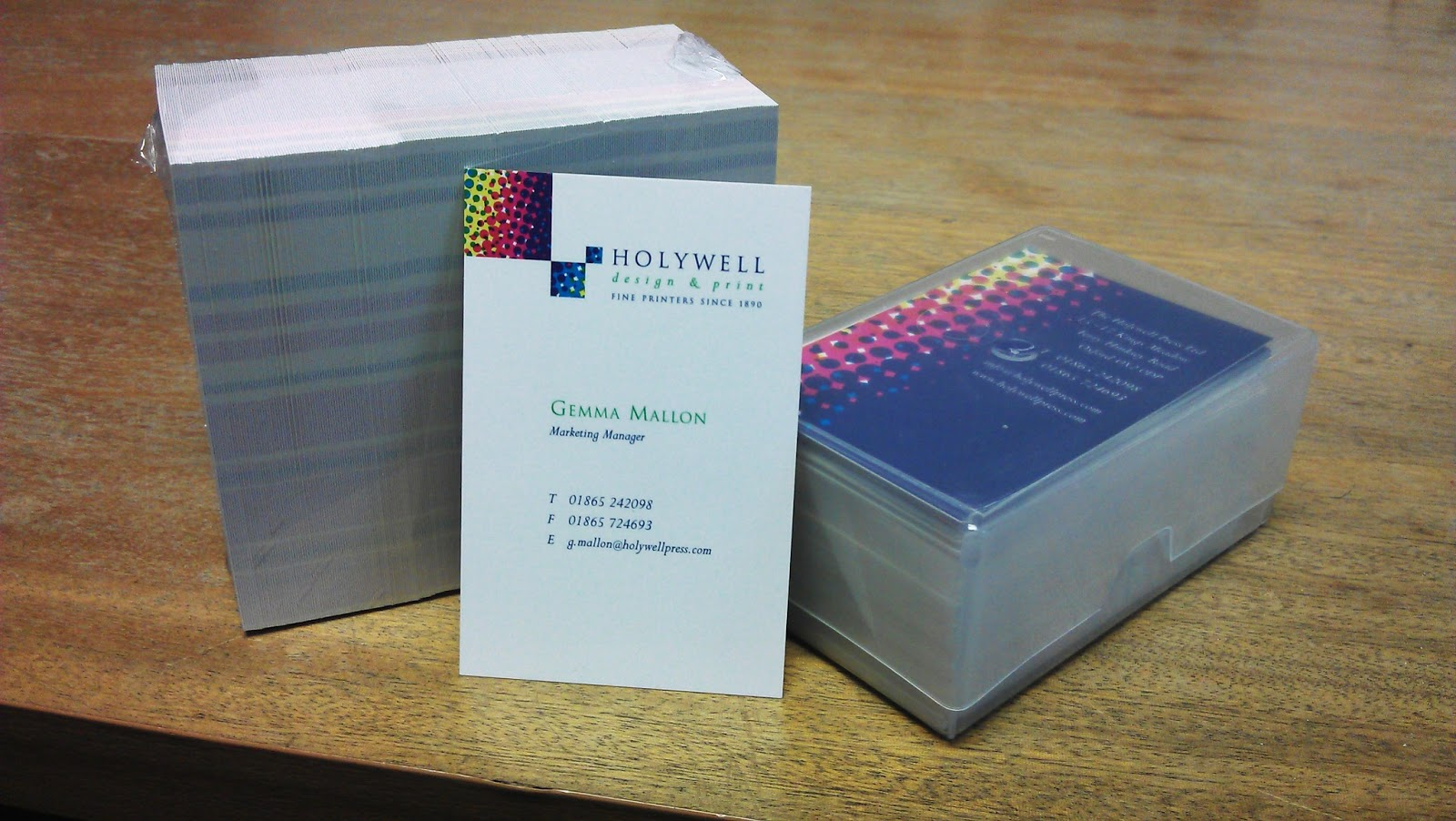 Holywell design print what do your business cards say about you the cards are precisely guillotine trimmed to size and packed in 100s supplied in a rigid plastic business card box reheart
