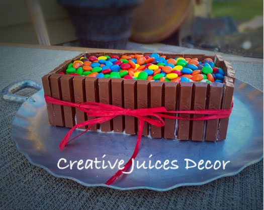 Creative juices decor candy cake crafts and party ideas for Decoration gateau m m s