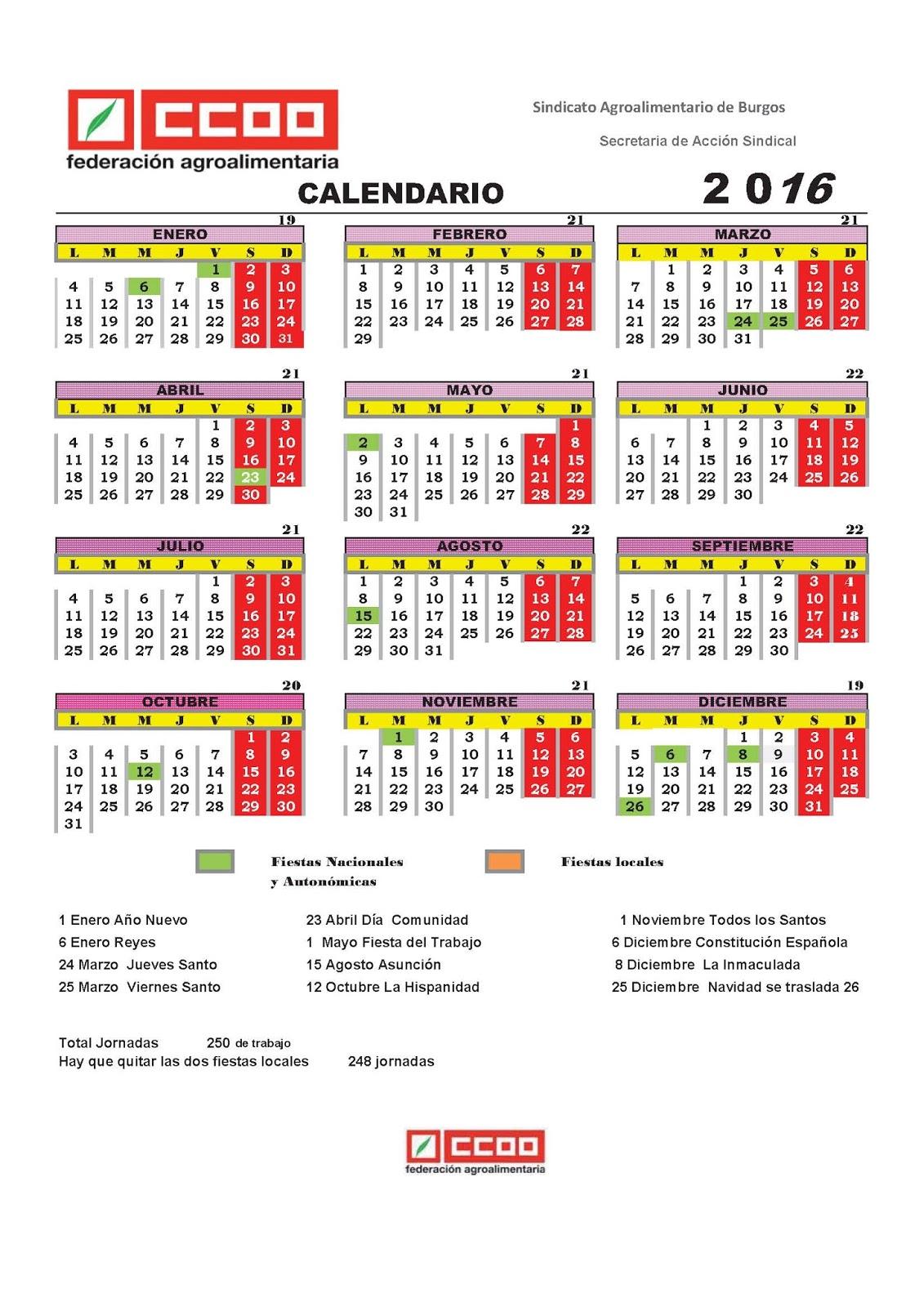 Ccoo campofr o burgos calendario laboral 2016 2017 for Calendario laboral leganes 2017