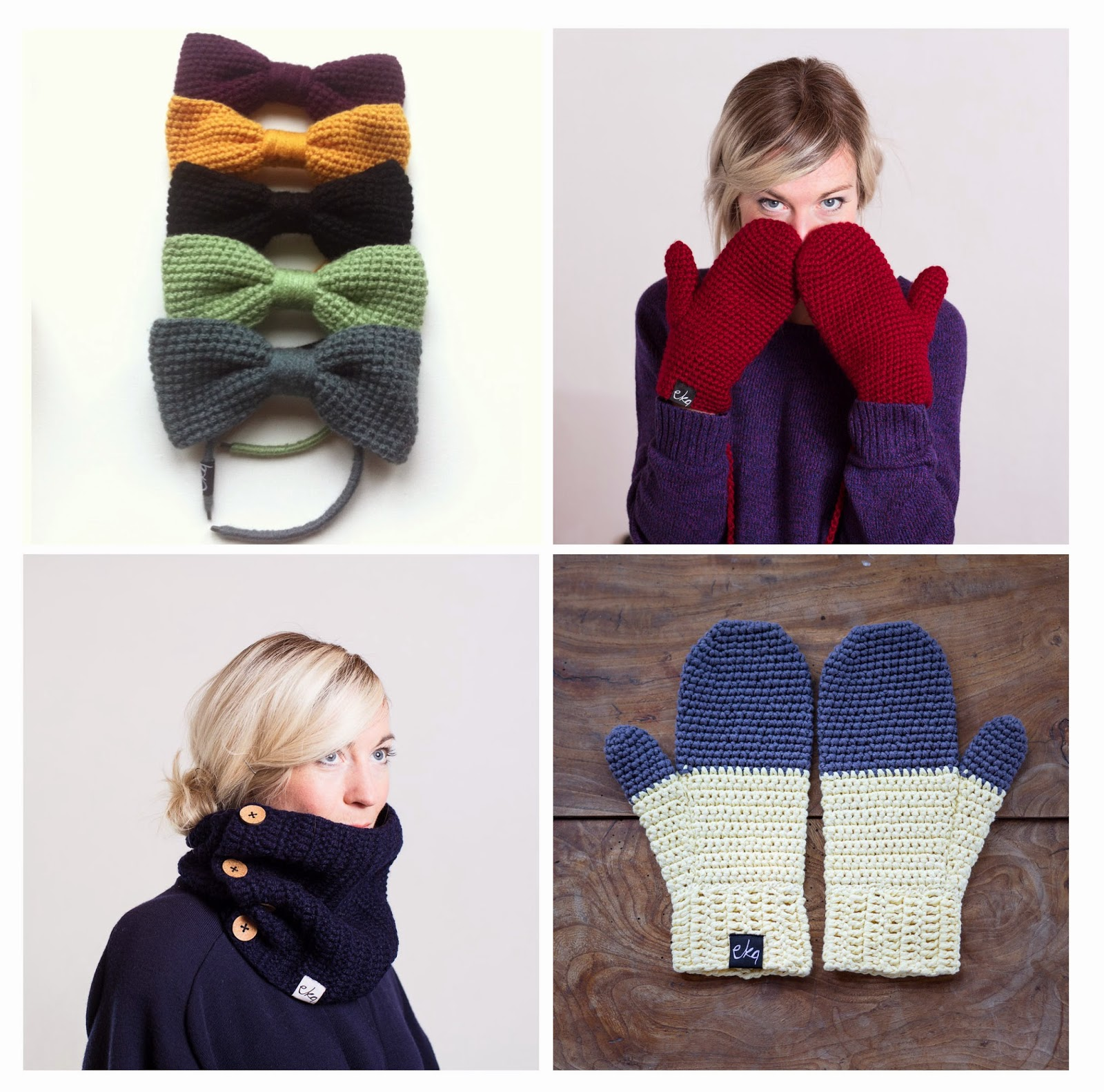 Ma Bicyclette - Buy Handmade - Clothing For Women - EKA - Knitted Mittens Hair Bow Snood Scarf