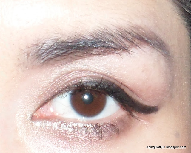 TEMPORARY TATTOO MakeUp: Korean Tony Moly 7 Days Tato Eyebrow Dark Brown swatch with flash