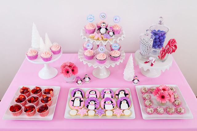 penguin party dessert table
