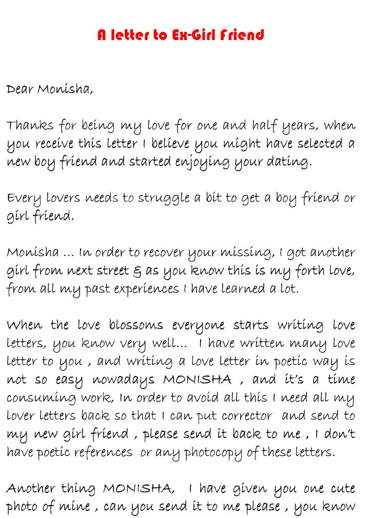 my crazy world love letter to ex girlfriend monisha