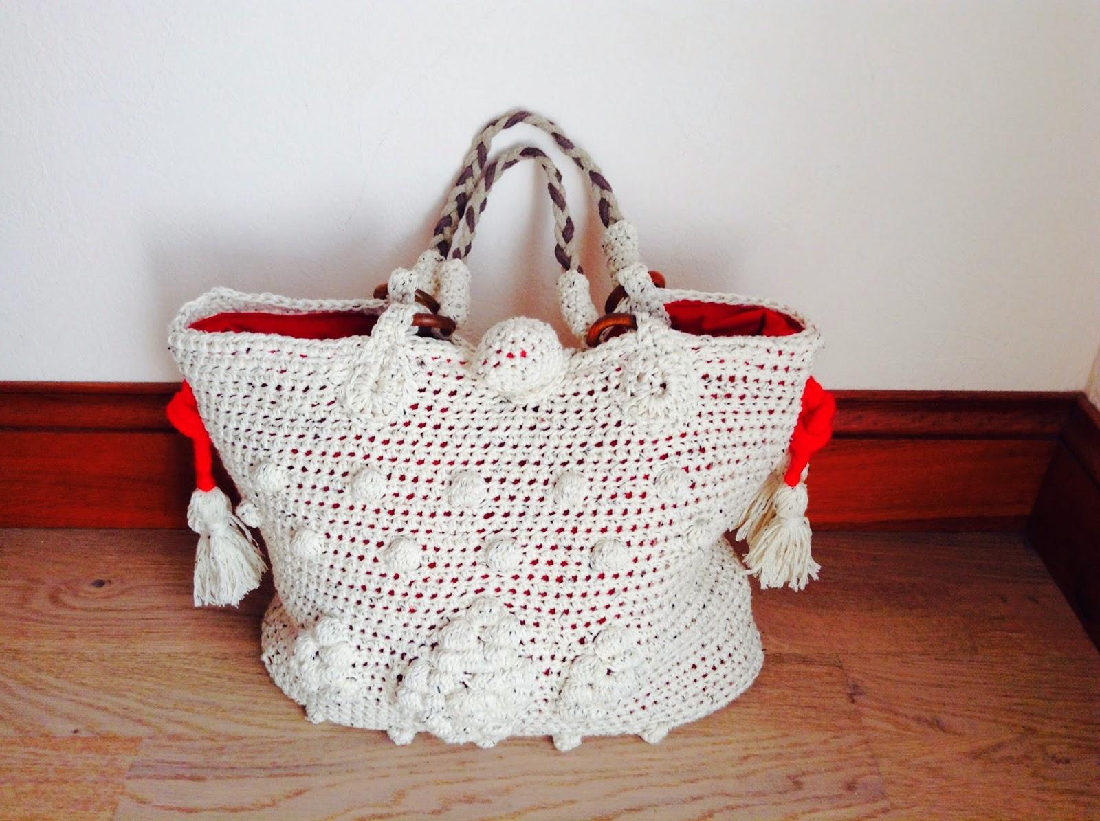 sac au crochet blanc chiné