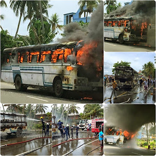 Colombo-Matara bus catches fire in Galle