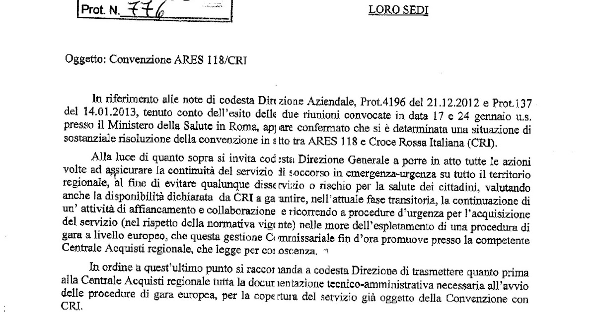 FP CGIL 118 ARES: Convenzione ARES 118 / CRI nota ARES 377_2013