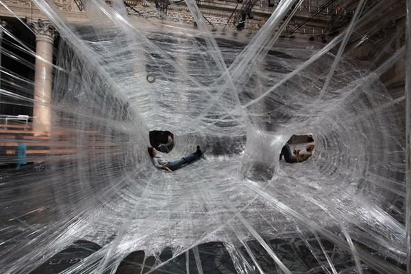 Spider Web Installation Made of Packaging Tape 6