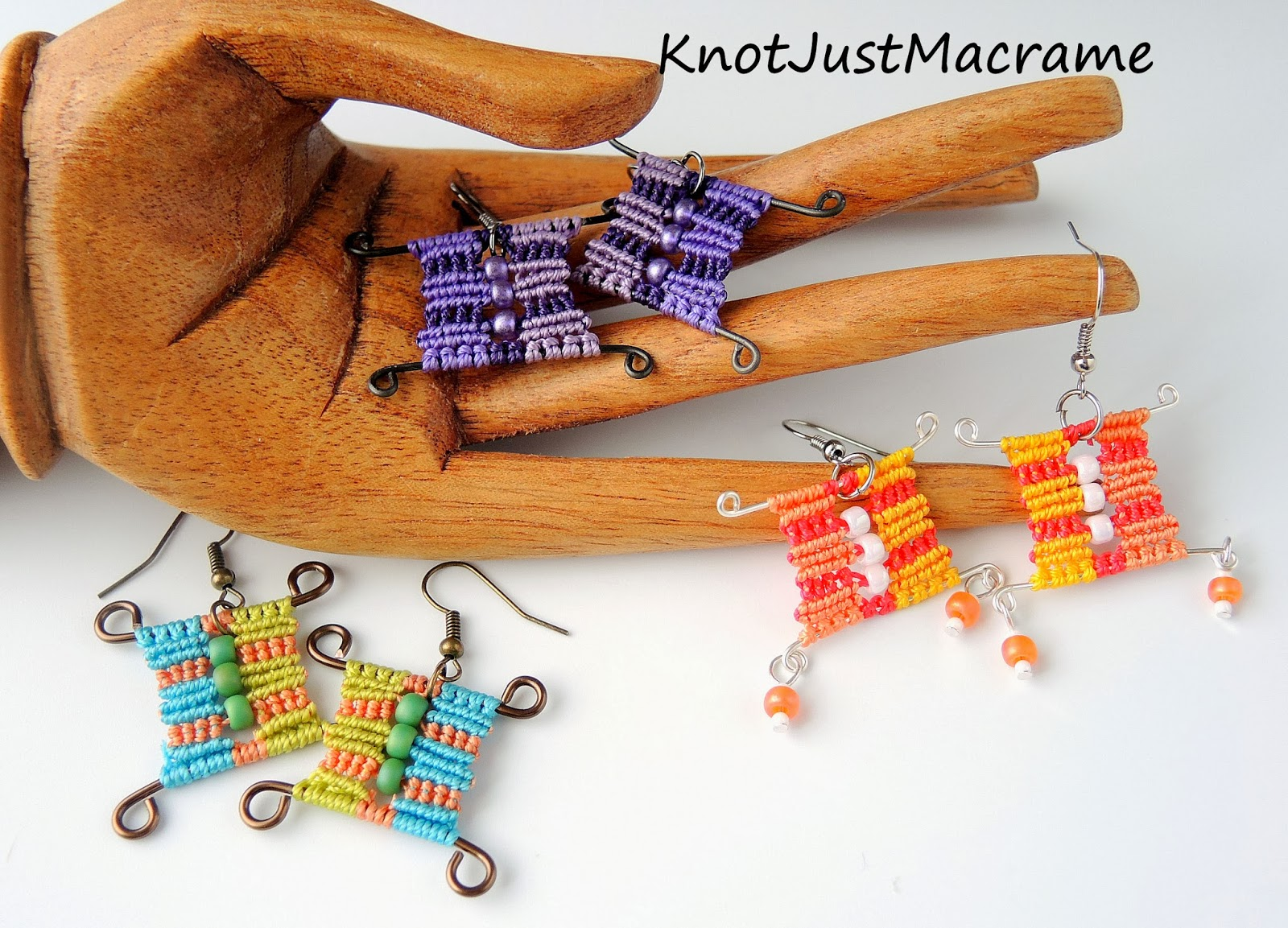 Cubist micro macrame earrings - new class from Sherri Stokey