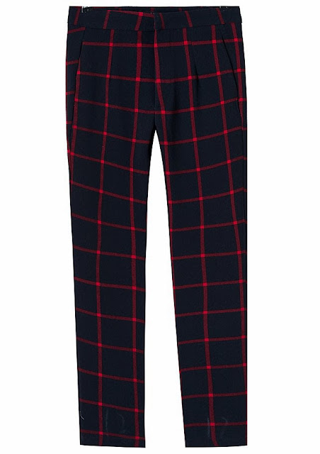 navy red check trousers