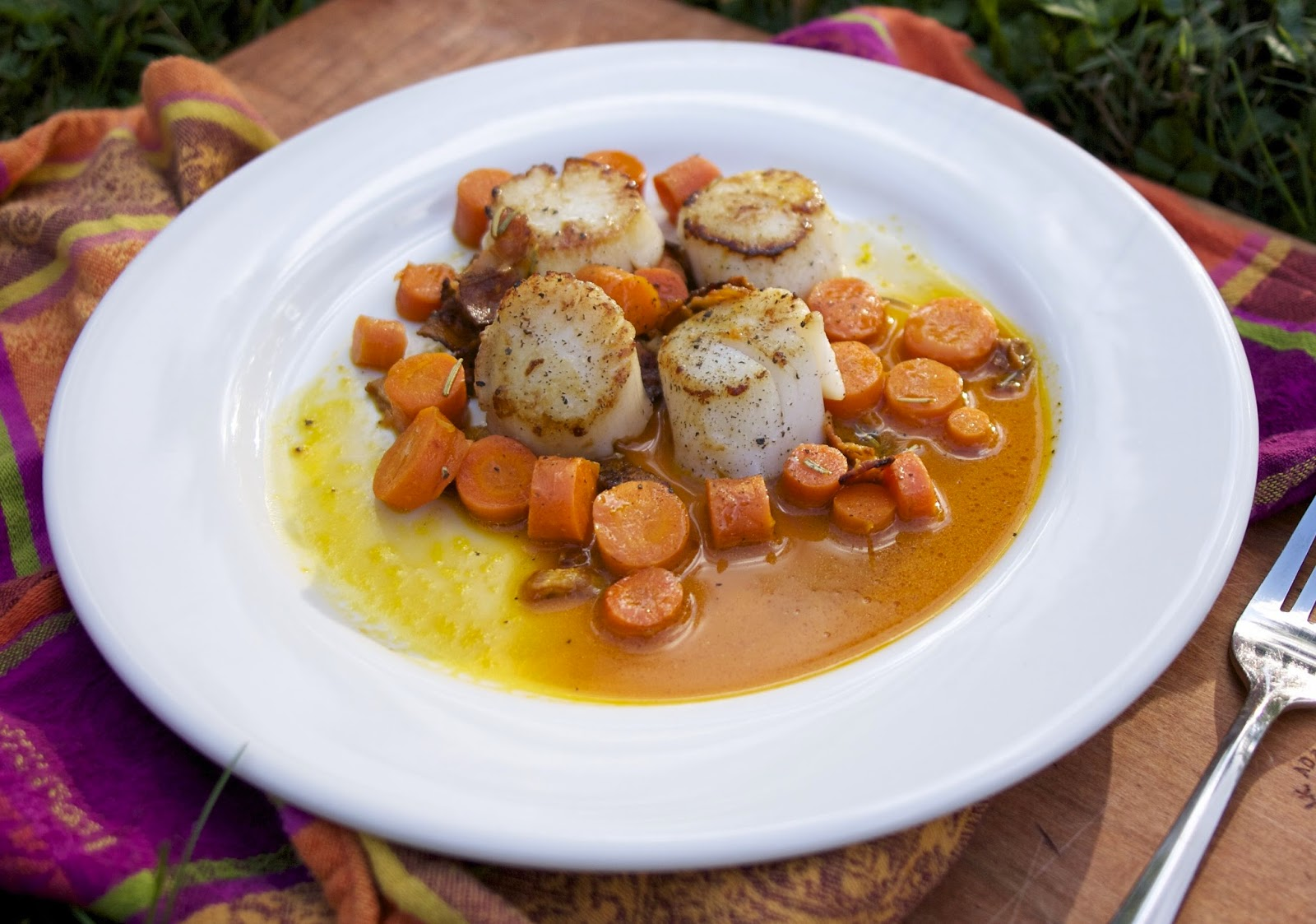 Scallops with Double Carrots- simplelivingeating.com
