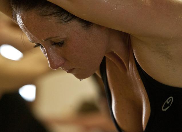 Bikram Yoga SLC Student Debi Muir Sweating It Out In Class