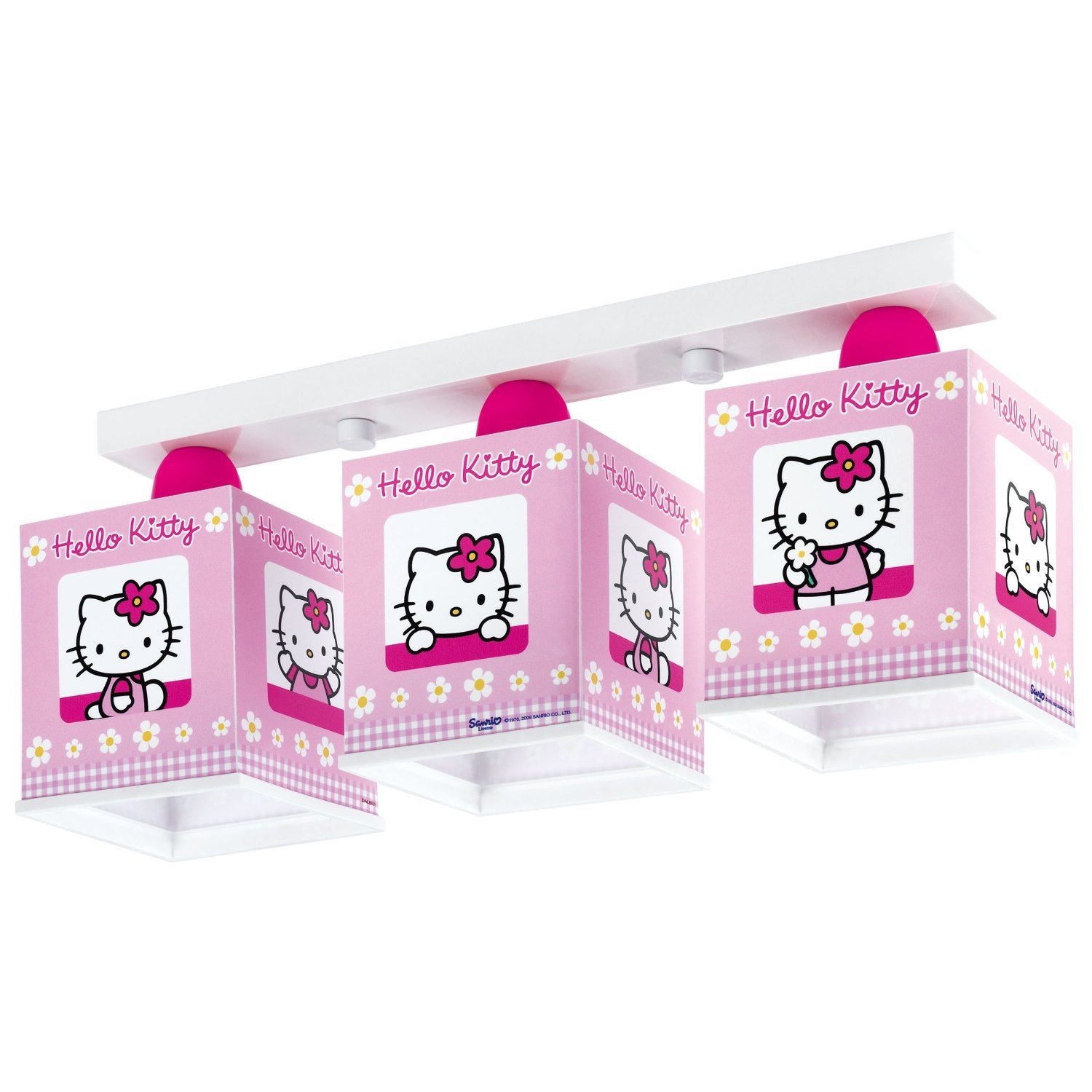 decken und wandleuchten dalber 63253 deckenlampe 3l hello kitty kinderzimmer lampe leuchte. Black Bedroom Furniture Sets. Home Design Ideas