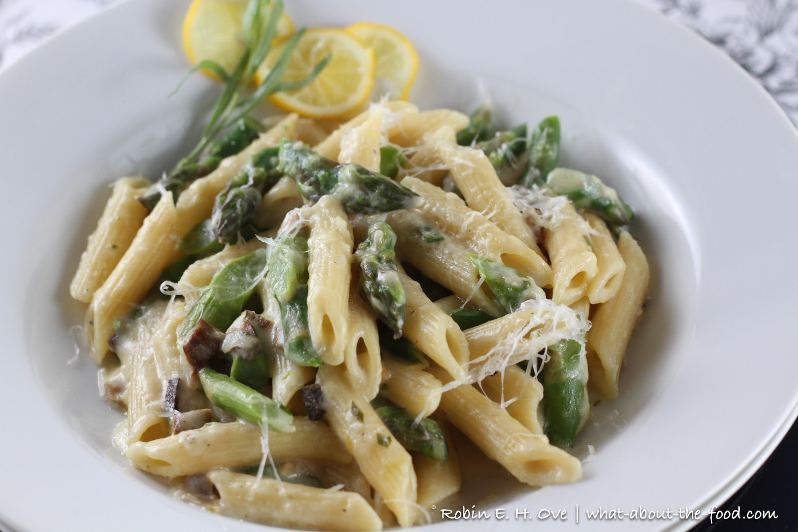 Lemon Truffle Pasta with Asparagus and Porcini Mushrooms