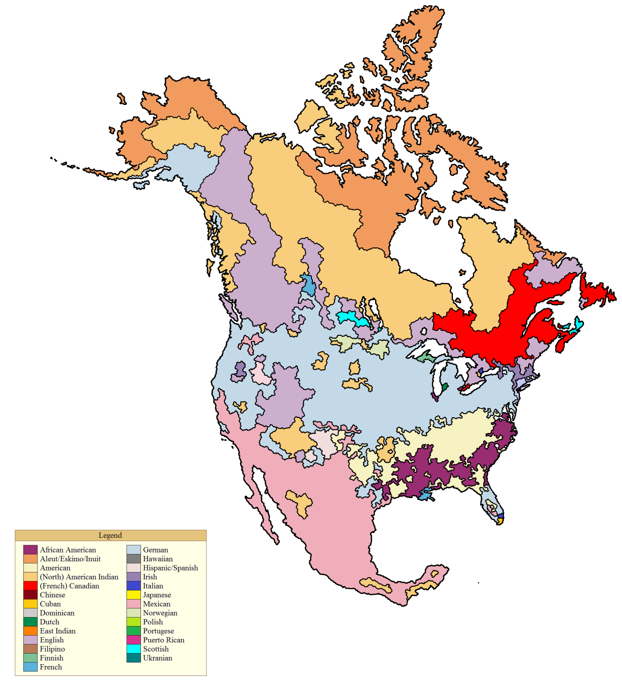 A map of North America if it was divided by the largest ancestry in each county