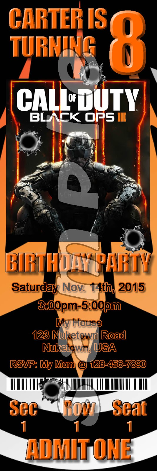 Reel party invitations call of duty black ops 3 birthday party click here to see the black ops 3 ticket invitations filmwisefo Image collections
