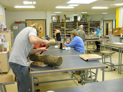 woodcarving at Nailsea school