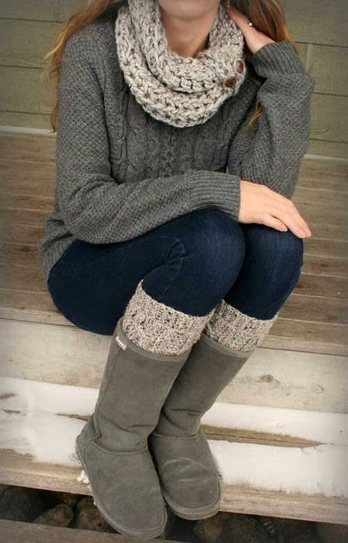 Adorable Winter Outfit, Woolen Scarf, Sweater, Jeans and Warm Long Neck Shoes