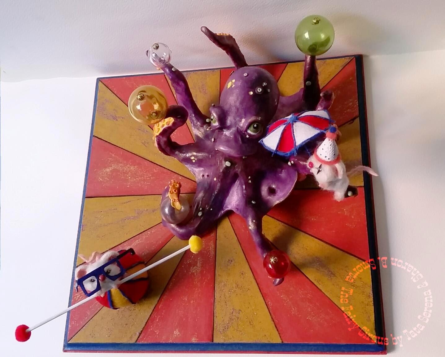ooak mice mouse polymer clay octopus circus circo topo topi piovra miniature miniatura arte art fantasy