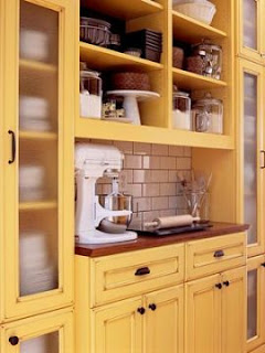 traditional yellow kitchen cabinets