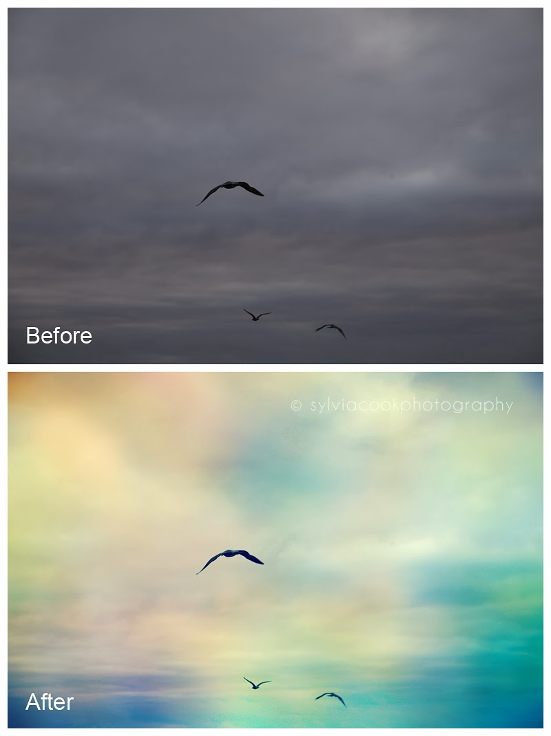 before and after editing with textures