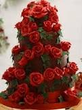 Romantic Wedding Cake Red Roses and Chocolate