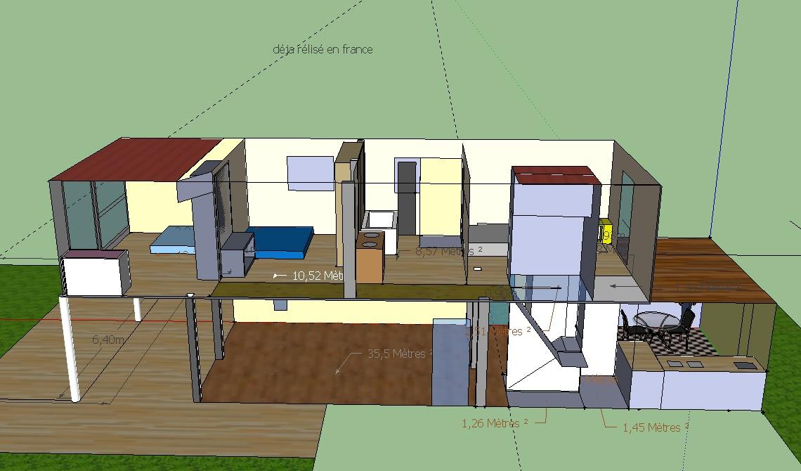 Maison container pc: maison en R+1, 4 container