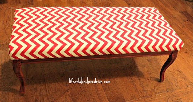 Chevron and Annie Sloan Emperor's Silk Bench Makeover, tutorial