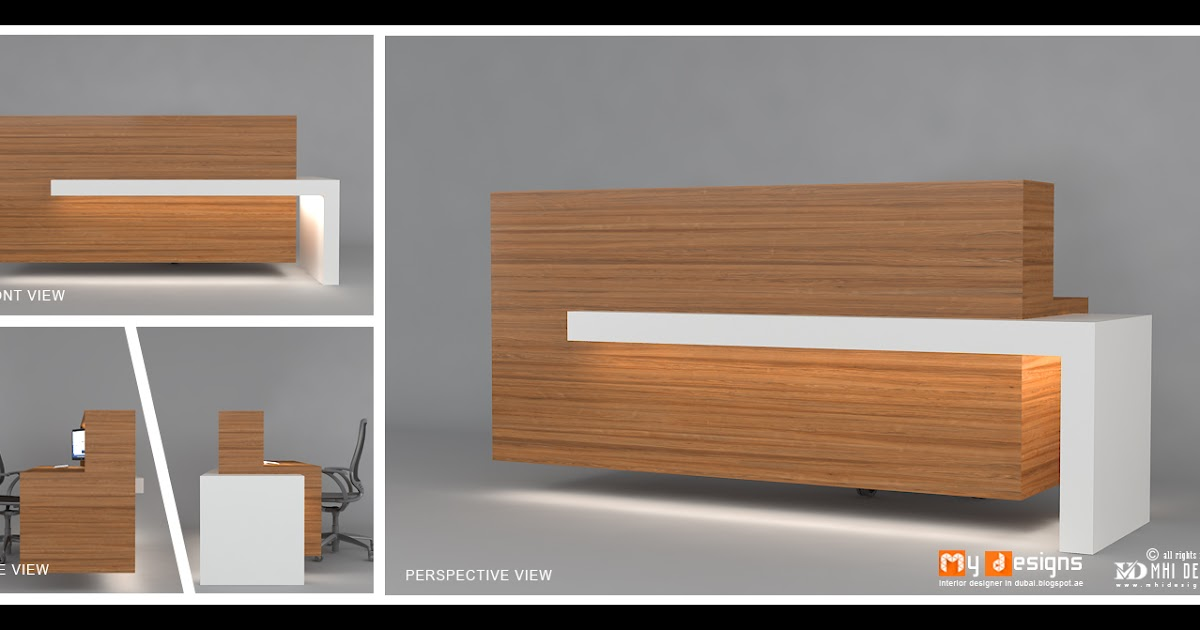 Modern reception tables office interior designs in dubai for Table design view