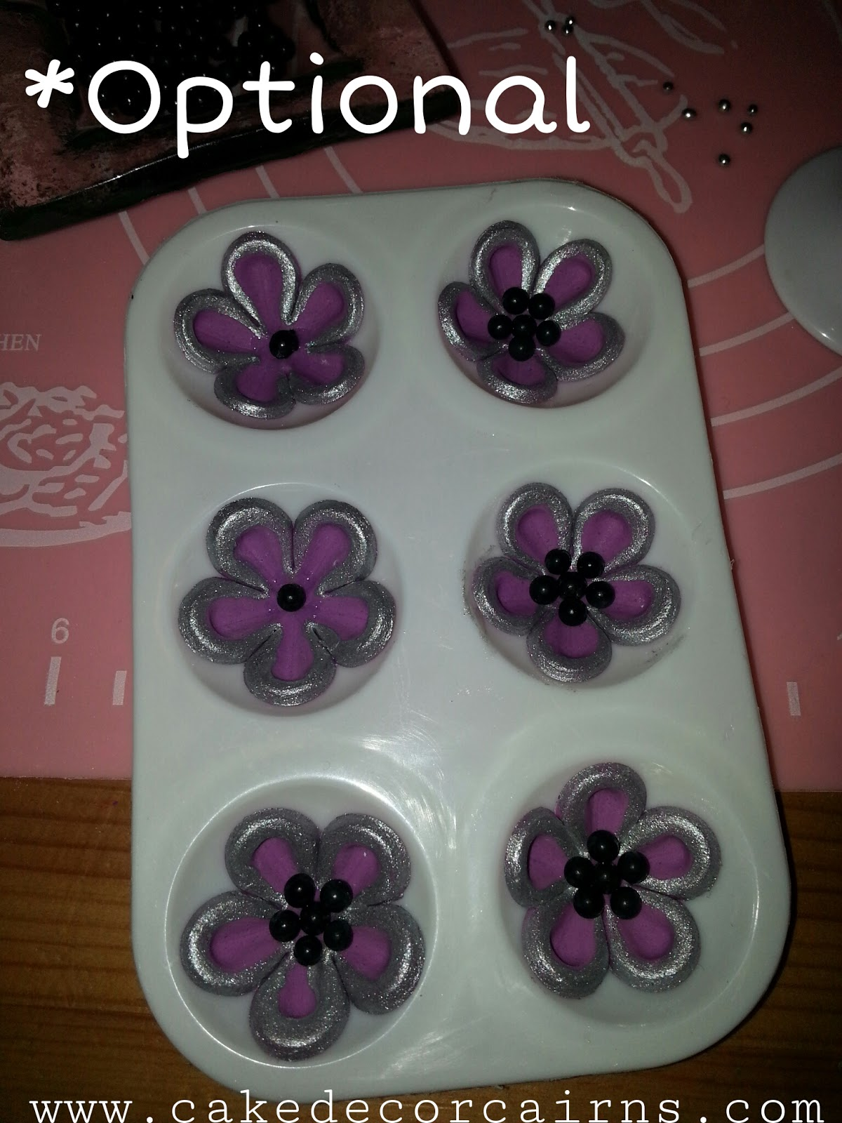 Fondant Flower and Handbag Toppers. Purple. by Cake Decor in Cairns