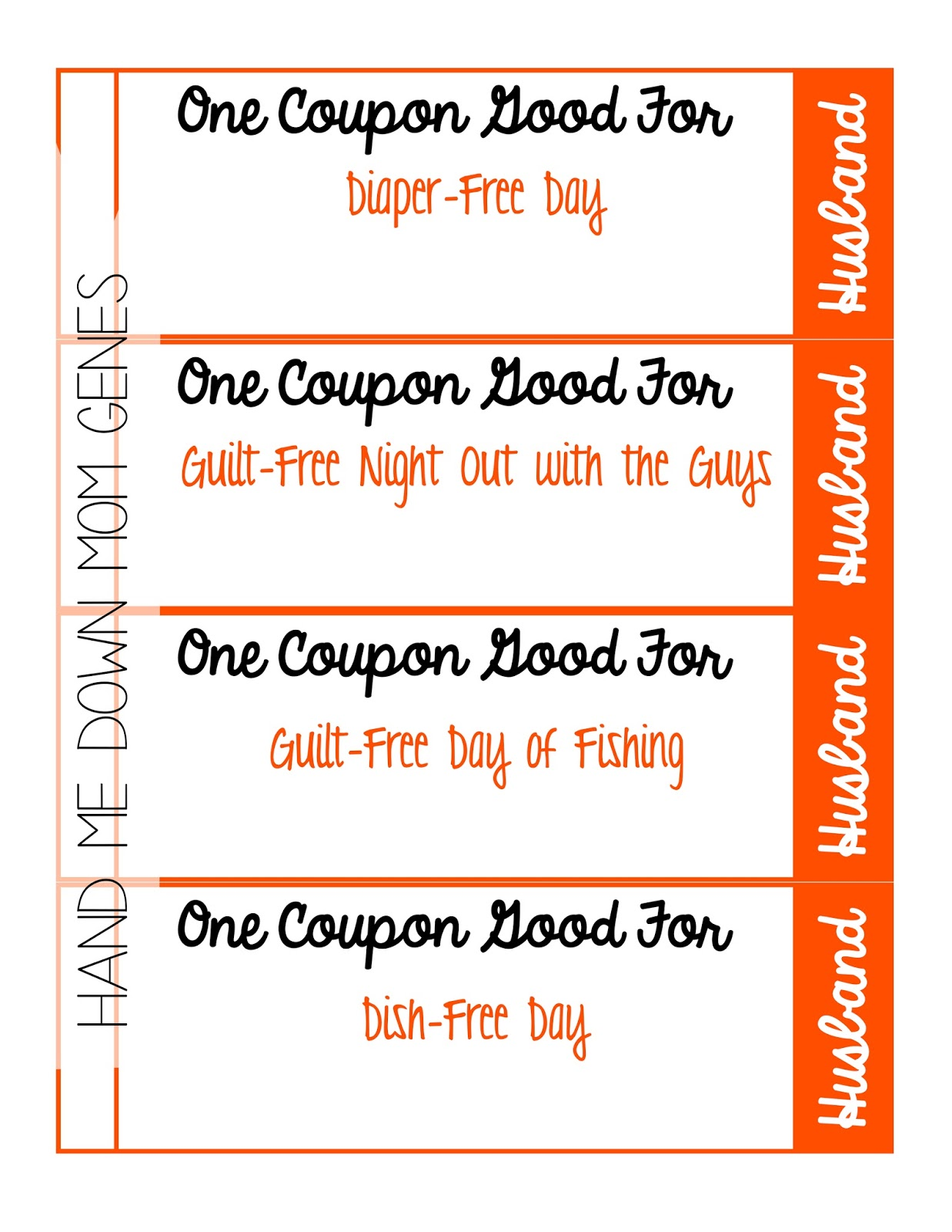 Hand me down mom genes free printable father 39 s day coupon for Coupon book template for husband