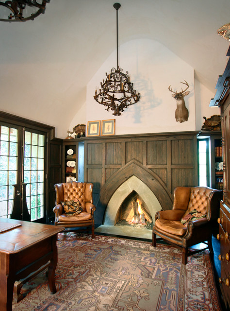 Sensational Shape of the Rustic Fireplace Mantels in the Sitting Space with Iron Chandelier and Brown Chairs