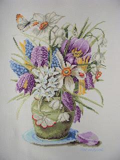 Набор для вышивания Весенние цветы, Lanarte 34860 купить в санкт петербурге Шале, Лен 27, Счетный крест.